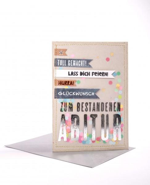 Anlass Karte – Zum Abitur mit silberfarbenen Umschlag