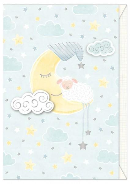 Karte Baby Schäfchen Mond bleu