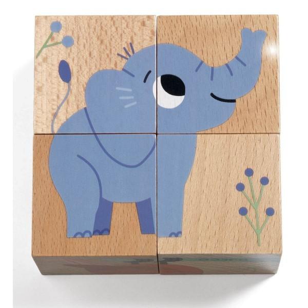 Holzwürfel-Puzzle Wild & Co.
