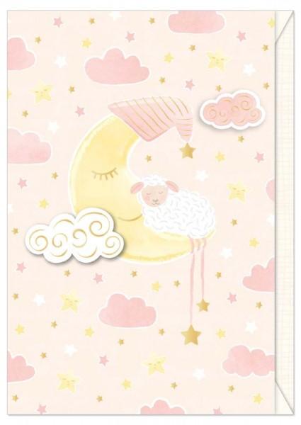 Karte Baby Schäfchen Mond rosé