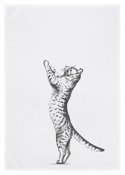 Geschirrtuch weiss, Katze grau