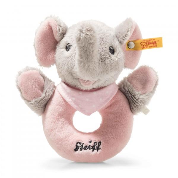 Trampili Elefant Greifring mit Rassel grau/rosa