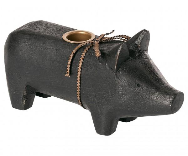 Holzschwein Kerzenständer medium schwarz