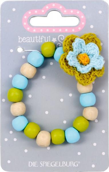 beautiful stars Holz-Armband mit Blume, blau