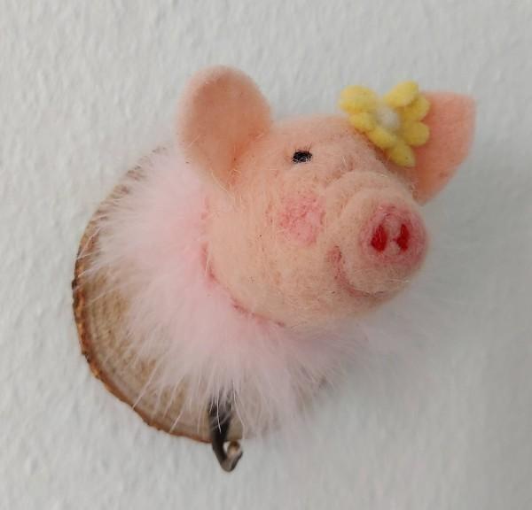 Kleiderhaken Schweinchen mit Blume