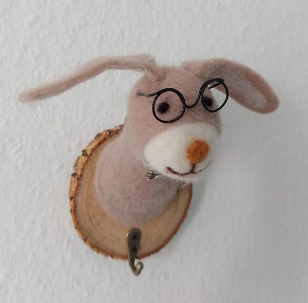Kleiderhaken Hase mit Brille