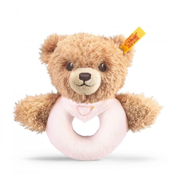 Schlaf gut Bär Greifring mit Rassel 12 cm rosa