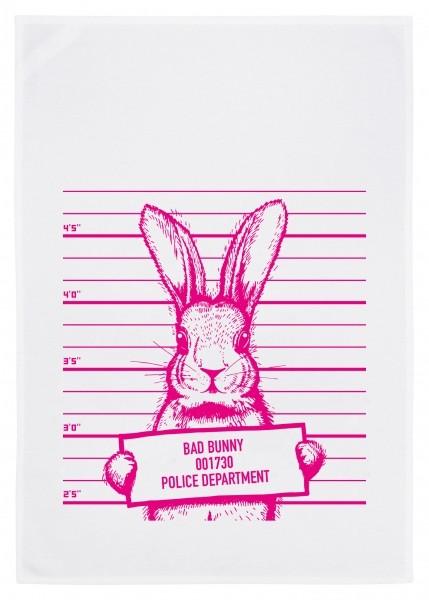 Geschirrtuch weiss, Bad Bunny pink
