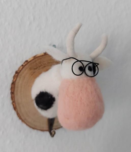 Kleiderhaken Kuh mit Brille