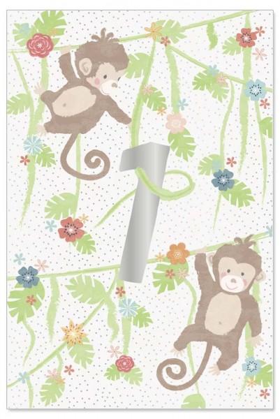 Grußkarte Kids 1. Geburtstag Äffchen