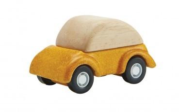 Gelbes Auto aus Naturholz
